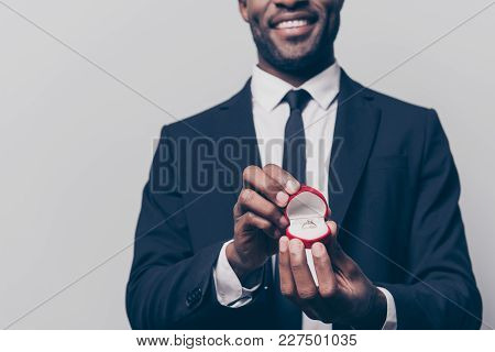 Will You Marry Me? Cropped Close Up Photo Of Happy Cheerful Excited Man Dressed In Smart Suit Holdin