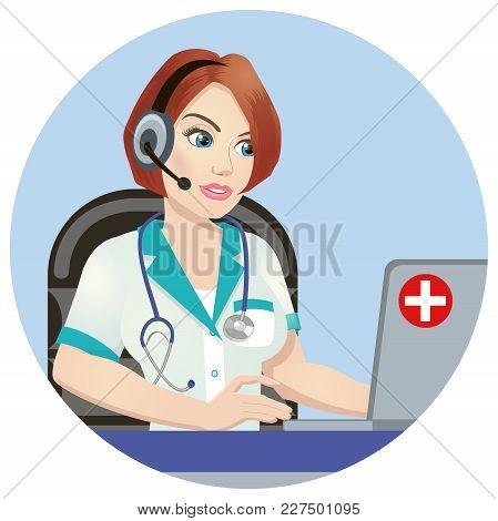 Medical Call Center Operator At Work. Isolated On White Background. Emergency Concept With Medical H
