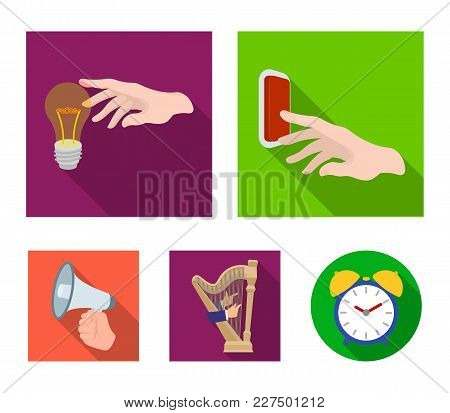 Electric Switch Button, Incandescent Lamp And Other  Icon In Flat Style. Harp Playing, Megaphone In