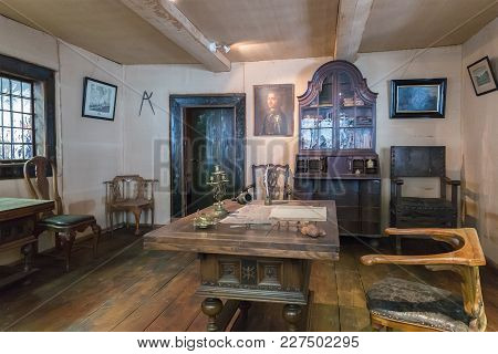 St. Petersburg, Russia - July 23, 2017: Interior Of Cabin Of Peter The Great, Small Wooden House Whi