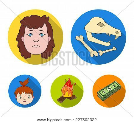 Woman, Hair, Face, Bonfire .stone Age Set Collection Icons In Flat Style Vector Symbol Stock Illustr