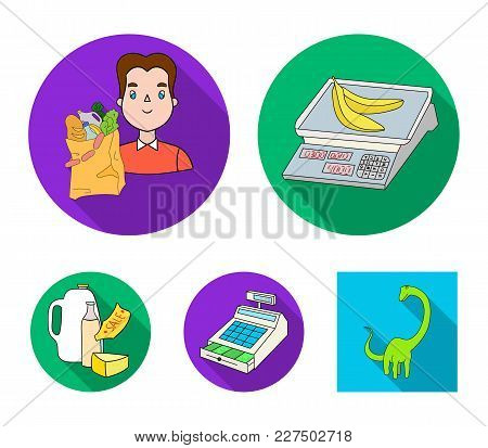 Package, Scales, Banana, Fruit .supermarket Set Collection Icons In Flat Style Vector Symbol Stock I