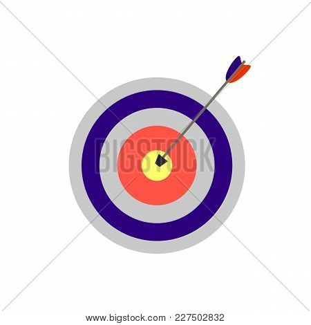 Goal Concept, Vector Illustration: Target With An Arrow, Flat Icon