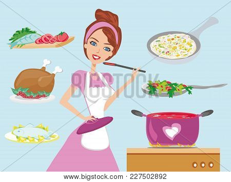 Housewife Cooking Dinner At Kitchen , Vector Illustration