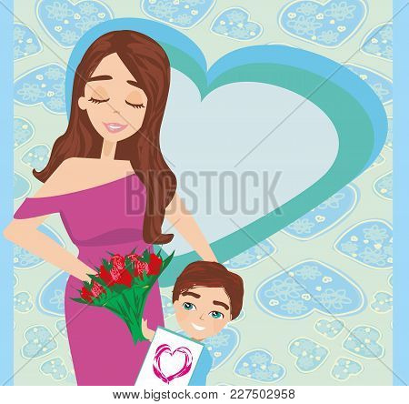 Happy Mothers Day Poster Card , Vector Illustration