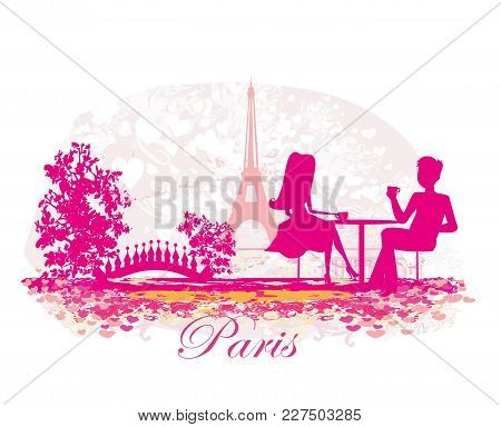 Couple In The Parisian Cafe , Vector Illustration
