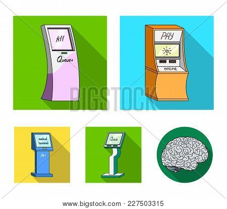 Medical Terminal, Atm For Payment, Apparatus For Queue, . Terminals Set Collection Icons In Flat Sty