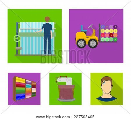 Equipment, Machine, Forklift And Other  Icon In Flat Style.textiles, Industry, Tissue, Icons In Set