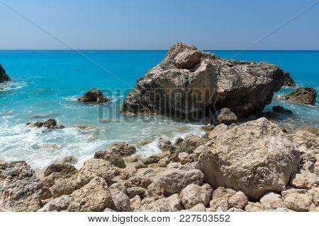 Amazing Landscape Of Blue Waters Of Megali Petra Beach, Lefkada, Ionian Islands, Greece