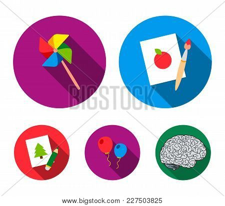 Pictures, A Windmill, Balloons. Tigers Set Collection Icons In Flat Style Vector Symbol Stock Illust