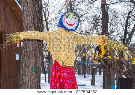 Samara, Russia - February 18, 2018: Shrovetide In Russia. Big Doll For The Burning. Maslenitsa Or Pa