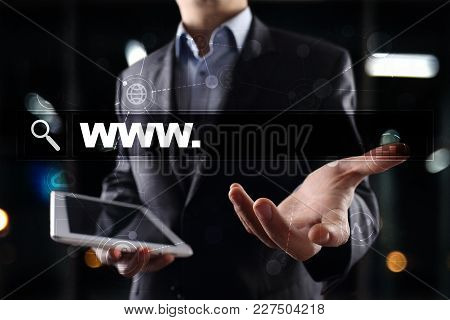 Search Bar With Www Text. Web Site, Url. Digital Marketing. Business, Internet And Technology Concep