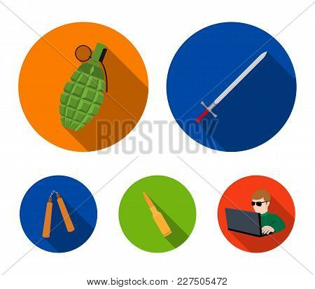 Sword, Hand Grenade, Cartridge, Nunchaki. Weapons Set Collection Icons In Flat Style Vector Symbol S