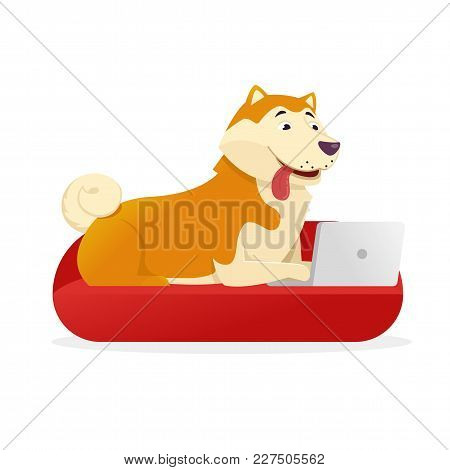 Funny Dog With Laptop Rounds Its Tail Up Vector Flat Illustration. Dog Cartoon Character Isolated On