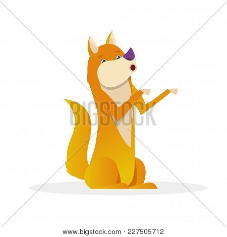 Funny Dog With Raised Tail Up Sitting Vector Flat Illustration. Dog Cartoon Character Isolated On Wh