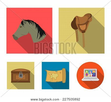 Head Of A Horse, A Saddle, A Treasure Map, A Chest.wild West Set Collection Icons In Flat Style Vect