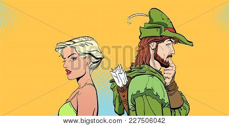 Man And Woman. Couple Thinking About Something. Surprised Pair. Modern Girl And Medieval Legend. Rob