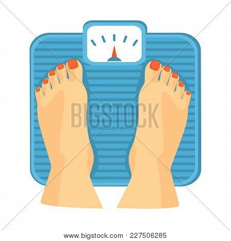 Woman Feet On Weight Scales.  Vector Illustration
