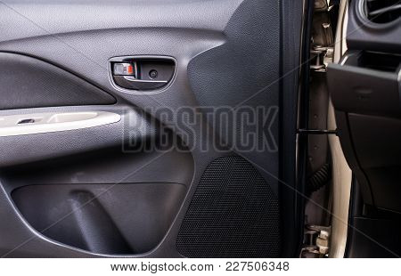 Car Control Panel Of Auto Button Glass,lock Door And Controlling Window In The Dirty Car