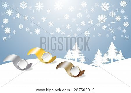 Sports Rank As A Metal Waves Ready For Your Text  In Winter Snow Landscape With Trees And Snowflakes