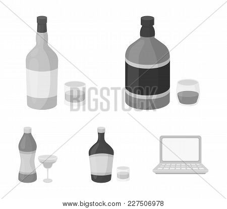 Whiskey, Liquor, Rum, Vermouth.alcohol Set Collection Icons In Monochrome Style Vector Symbol Stock