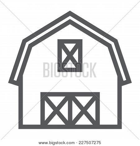 Farm Barn Line Icon, Farming And Agriculture, Farm Hangar Sign Vector Graphics, A Linear Pattern On