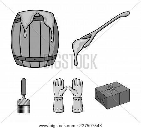 A Spoon Of Honey, Protective Gloves, A Barrel Of Honey, A Fork.apiary Set Collection Icons In Monoch