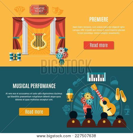 Theatre Banner Set With Premiere And Musical Performance Headline And Read More Buttons Vector Illus