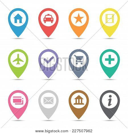 Map Pin Icon Set. Transport Images Pins Of Various Color, Markers On A Map For Navigation. Vector Fl