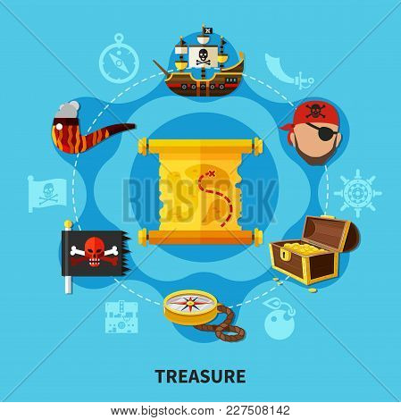 Pirate Treasure With Chest Of Gold, Map, Jolly Roger Round Cartoon Composition On Blue Background Ve