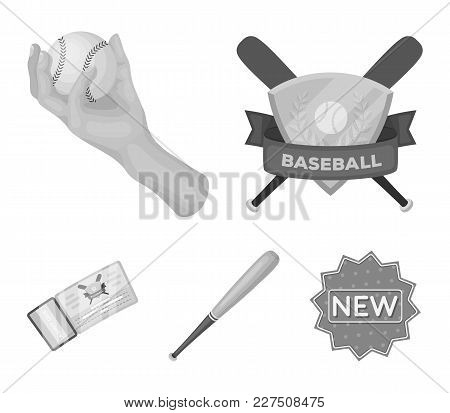 Club Emblem, Bat, Ball In Hand, Ticket To Match. Baseball Set Collection Icons In Monochrome Style V