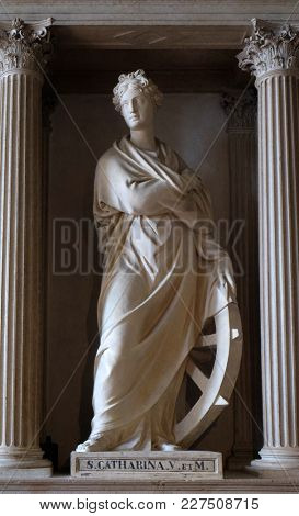 MANTUA, ITALY - JUNE 04: Saint Catherine of Alexandria statue in Mantua Cathedral dedicated to Saint Peter, Mantua, Italy on June 04, 2017.