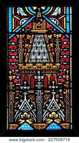 ZAGREB, CROATIA - AUGUST 19: Stained glass window in parish church of Saint Mark in Zagreb, Croatia on August 19, 2017.
