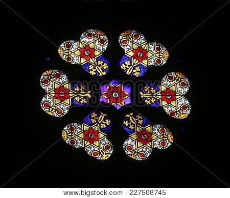 ZAGREB, CROATIA - APRIL 07: Stained glass in Zagreb cathedral dedicated to the Assumption of Mary in Zagreb on April 07, 2015