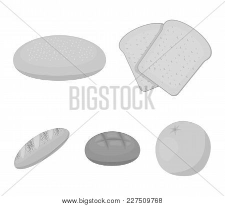 Toast, Pizza Stock, Ruffed Loaf, Round Rye.bread Set Collection Icons In Monochrome Style Vector Sym