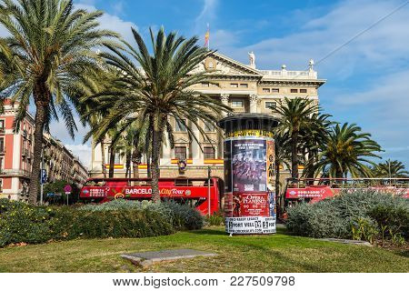 Barcelona, Spain - December 5, 2016: Advertising Columns Or Morris Columns With Placards On The Stre