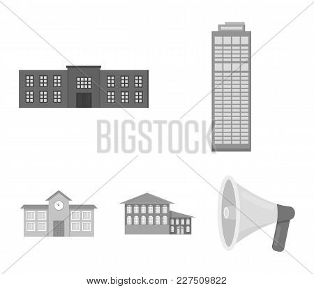 Skyscraper, Police, Hotel, School.building Set Collection Icons In Monochrome Style Vector Symbol St