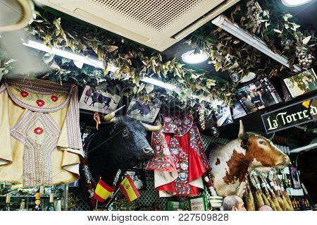 Madrid, Spain - 24 August, 2017: Souvenir Shop With A Bull's Head At Madrid