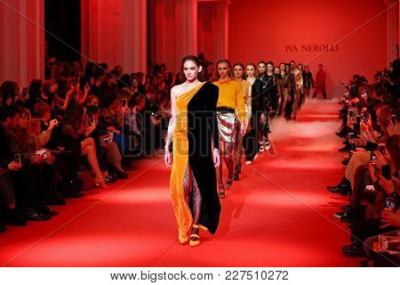 Kyiv, Ukraine - February 5, 2018: Models Walk The Runway At Iva Nerolli Collection Show During Ukrai