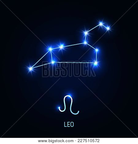 Leo Constellation And Zodiac Sing. Vector Illustration.