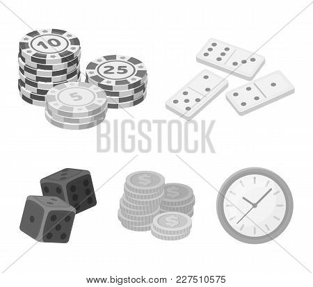 Domino Bones, Stack Of Chips, A Pile Of Mont, Playing Blocks. Casino And Gambling Set Collection Ico