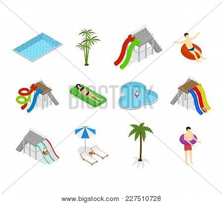 Aqua Park Element Set With People And Equipment Isolated On White Background For Recreation Fun Leis