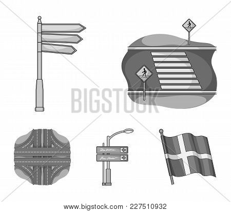 Direction Signs And Other  Icon In Monochrome Style.road Junctions And Signs Icons In Set Collection