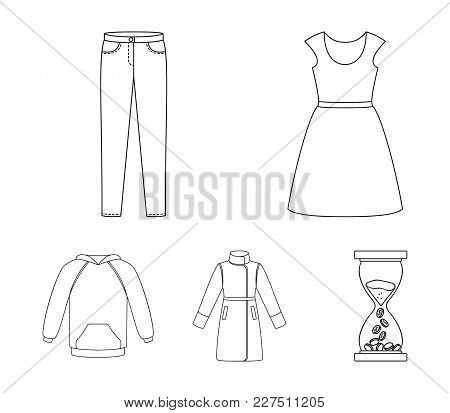 Dress With Short Sleeves, Trousers, Coats, Raglan.clothing Set Collection Icons In Outline Style Vec