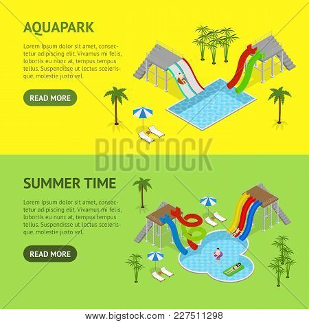 Aqua Park Banner Horizontal Set Concept With People And Equipment For Recreation Fun Leisure Isometr