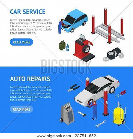 Car Auto Service Banner Horizontal Set Isometric View Diagnostic Equipment Maintenance Repair And Wo