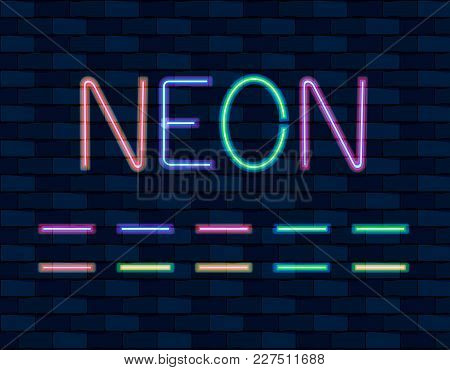 Vector Collection Of Neon Brishes, Different Color, Neon Lamps On Dark Wall Background.