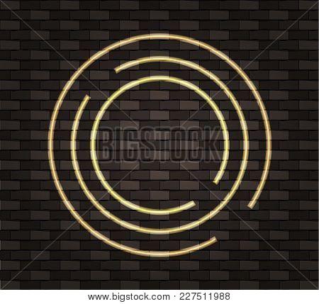 Vector Neon Circle Frame, Blank Border Template, Shine Effect, Dark Brown Wall Background.