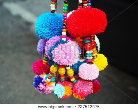 Handmade Colorful Cotton Pom Poms And Beads