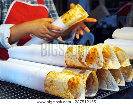 Crispy Flat Bread (roti) At The Local Market